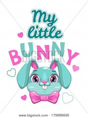My little bunny vector illustration. Cute girlish t shirt print template.