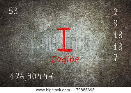 Isolated Blackboard With Periodic Table, Iodine