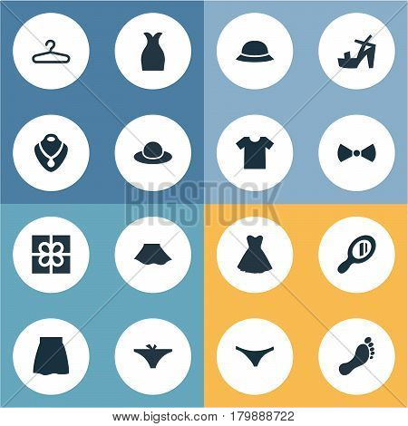 Vector Illustration Set Of Simple Dress Icons. Elements Jewelry, Elegant Headgear, Panties And Other Synonyms Tie, Panties And Footwear.