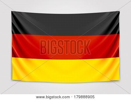 Hanging flag of Germany. Federal Republic of Germany. National flag concept. Vector illustration.