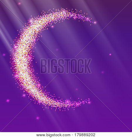 Half of the moon from gold glittering star dust on a colored background. Golden symbol for for flyer, poster or banner. Template with texture for your design or business.
