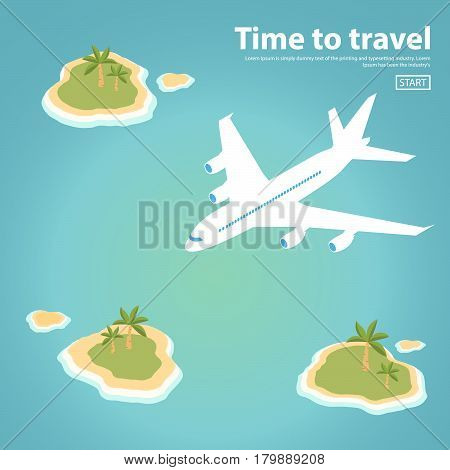 isometric Landscape illustration the island text inscription jet plane sea.Travel,tourism vector illustration in a flat style.Travel banner.Water tourism.Summer holidays, vacation.