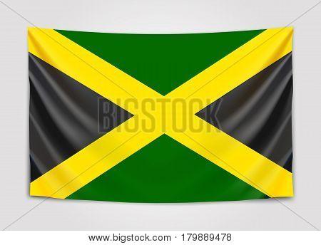Hanging flag of Jamaica. Jamaica. National flag concept. Vector illustration