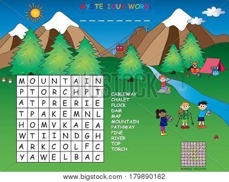 game for children: easy crossword in mountain