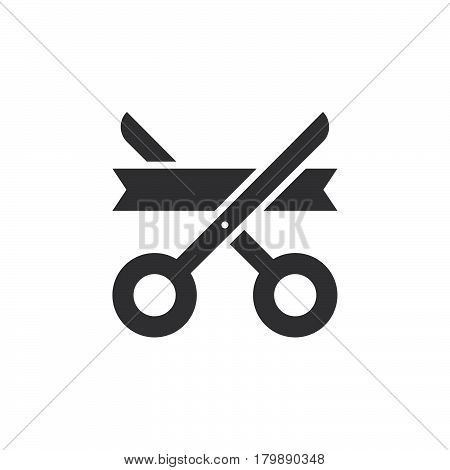 Grand opening symbol. ribbon and scissors icon vector solid logo illustration pictogram isolated on white