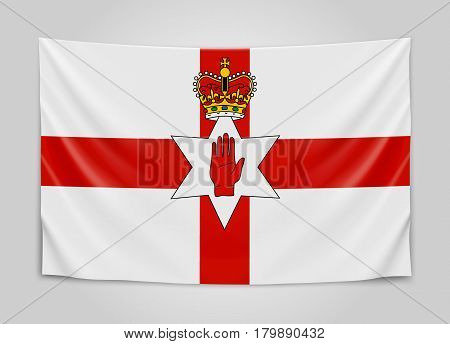 Hanging flag of Northern Ireland. Northern Ireland. National flag concept. Vector illustration.