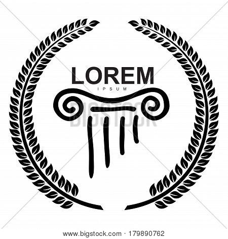 Vector logo in the Greek style wreath of ears and and capitals of columns.