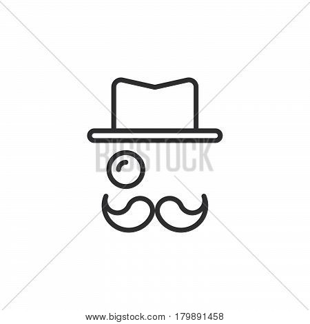 Monocle Mustaches Hat line icon outline vector logo illustration linear pictogram isolated on white