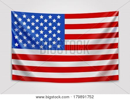 Hanging flag of USA. United States of America. National flag concept. Vector illustration.