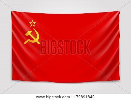 Hanging flag of USSR.Union of Soviet Socialist Republics. National flag concept. Vector illustration.