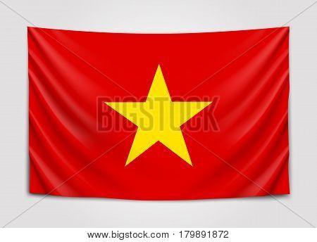 Hanging flag of Vietnam. Socialist Republic of Vietnam. National flag concept. Vector illustration.