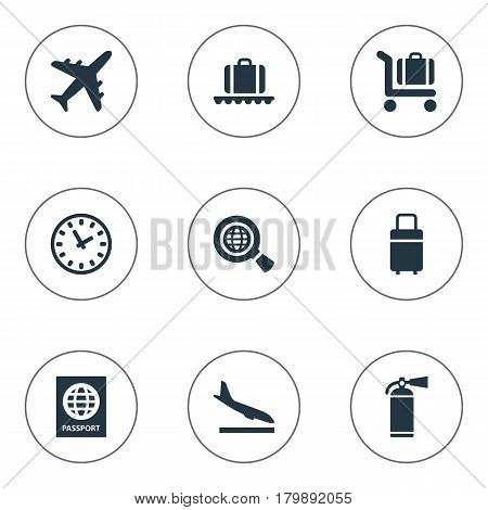 Vector Illustration Set Of Simple Transportation Icons. Elements Plane, Travel Bag, Global Research And Other Synonyms Luggage, Extinguisher And Earth.