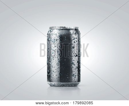 Blank black cold aluminium soda can mockup with drops 330 ml 3d rendering. Empty fresh fizzy pop packing mock up with condensate isolated on white. Canned dripping drink template. Cool tin package.