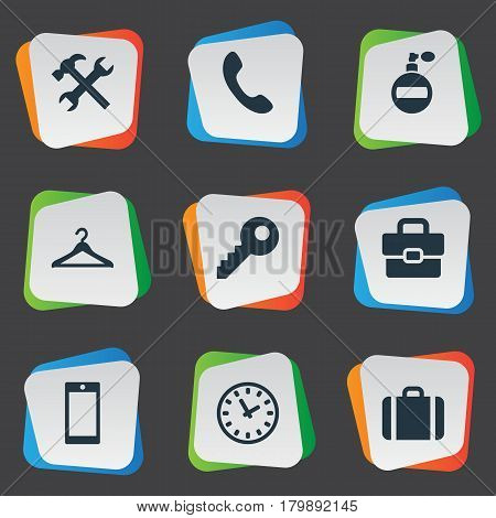Vector Illustration Set Of Simple Instrument Icons. Elements Call Button, Time, Repair And Other Synonyms Perfume, Briefcase And Switchboard.