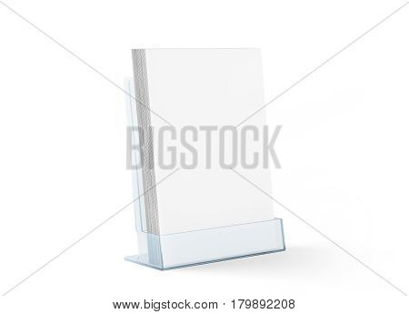 Blank flyer mockup glass plastic transparent holder isolated 3d rendering. Plain flier stand in plexiglass tray. Clear brochure holding in acrylic pocket. Empty booklet mock up design presentation.