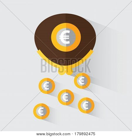 Wallet with euro. Loss of money. Vector illustration in flat design