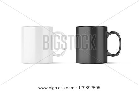 Blank black and white glass mug mockup isolated 3d rendering. Clear 11 oz coffee cup mock up for sublimation printing. Empty gift pint set branding template. Glassy restaurant tankard design.
