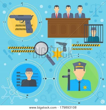 Law and justice design concept with prisoner, policeman and court of law tribunal infographics template icons in circles design, web elements, poster banner, Vector illustration