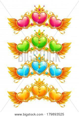 Cool golden banners with colorful crystal hearts and wings. Vector game assets, isolated on white background.