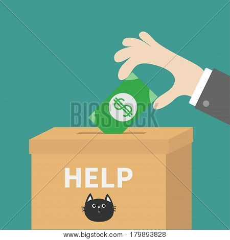 Human hand putting paper money bill with dollar sign into donation paper cardboard box. Helping hands concept. Donate and help cats. Flat design style. Green background. Vector illustration.
