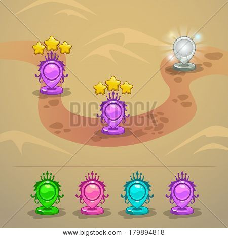 Game map with level rank indicators. Map pointers for GUI design. Vector illustration.
