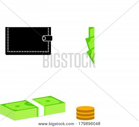 set money dollars and coins on white background. set money dollars and coins sign.