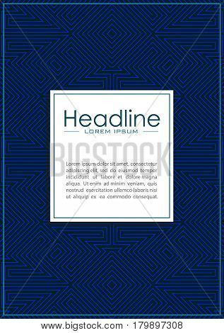 Blue cover design with labyrinth background pattern. Good for annual report conference journal book banner flyer business or fashion report. Vector.