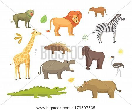 African animals vector set.elephant, rhino, giraffe, cheetah, zebra, hyena lion hippo crocodile gorila and outhers Isolated illustration