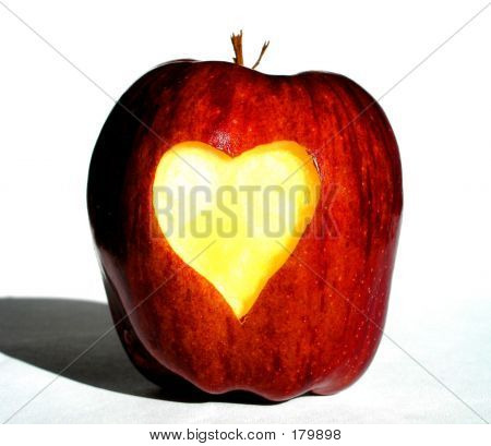 Apple With Heart Carved In