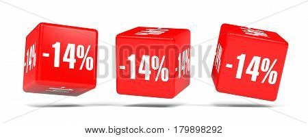 Fourteen Percent Off. Discount 14 %. Red Cubes.