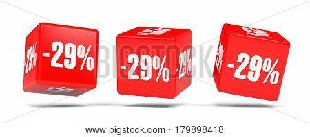 Twenty Nine Percent Off. Discount 29 %. Red Cubes.