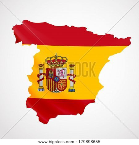 Hanging Spain flag in form of map. Kingdom of Spain. National flag concept. Vector illustration.