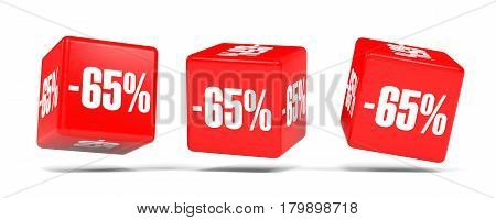 Sixty Five Percent Off. Discount 65 %. Red Cubes.