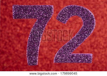 Number seventy-two purple color over a red background. Anniversary. Horizontal