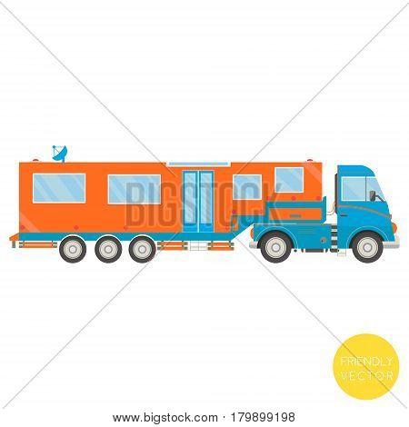 Cartoon transport. Campervan vector illustration. View from side.