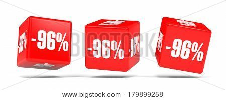 Ninety Six Percent Off. Discount 96 %. Red Cubes.