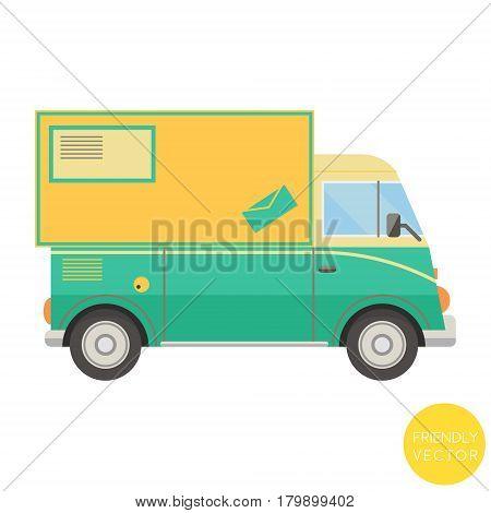 Cartoon transport. Postal truck vector illustration. View from side.