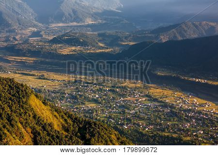 View to nearest villages in foot of Sarangkot view point near Pokhara in Nepal