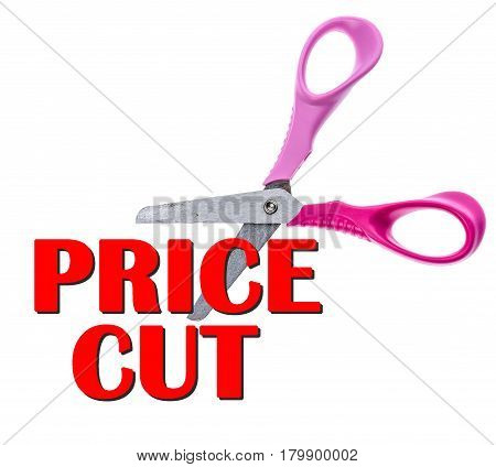 Scissors And Cut Price Sale Text Concept.