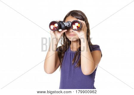 Young Caucasian cute girl using big binocular