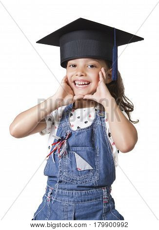 Schoolgirl Wearing A University Cap