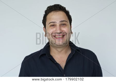 People portrait studio shoot with smiling face expression