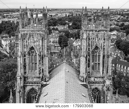 York Minster is a cathedral in York one of the leading examples of english gothic architecture. Panorama of York from the roof of York Minster in black and white. York North Yorkshire United Kingdom