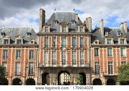 Palaces in Place des Vosges. Paris, France