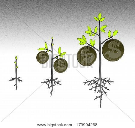 Scheme of money growth in the form of a money tree with coins on branches. On a stylized graphical background