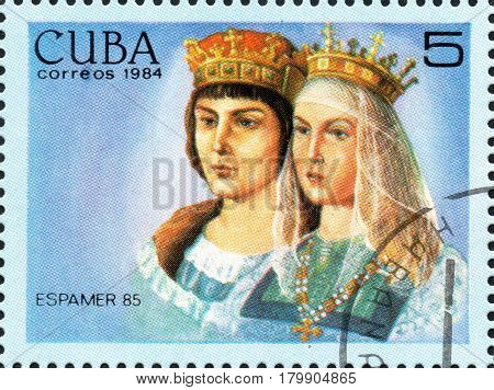 UKRAINE - CIRCA 2017: A postage stamp printed in Cuba shows The Catholic kings from the series International Philately Exhibition of Iberoamerica Havana Espamer 85 circa 1984