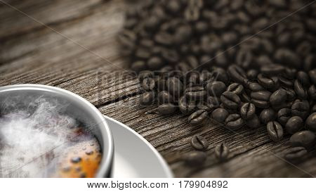 Closeup cup of coffee with smoke and coffee beans on an old wooden table. 3D Rendering.