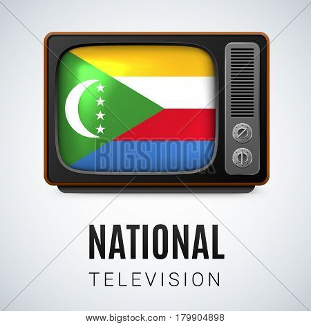 Vintage TV and Flag of Comoros Islands as Symbol National Television. TV Receiver with Comoros Islands flag
