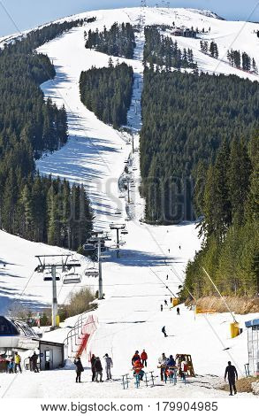 Bansko, Bulgaria -March 24 2017:Ski slope at winter resort Bansko, Bulgaria