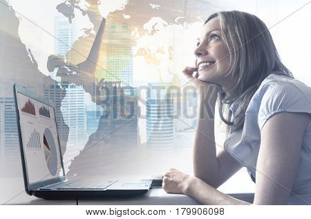 Vacation daydreams. Smiling woman with closed eyes is virtually flying in a modern office. Elements of this image furnished by NASA